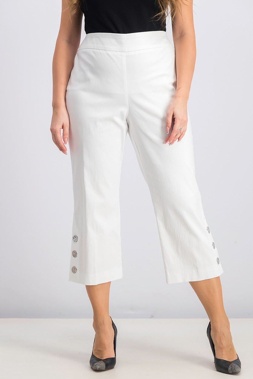 Women's Petite Cropped Button-Trim Flare Pants, Bright White