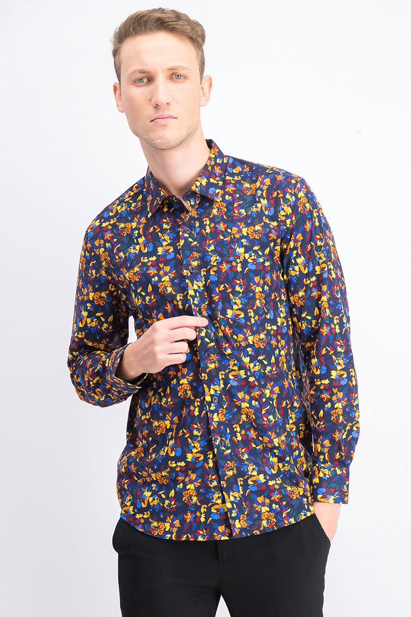 Mens Floral Print Shirt, Navy Blue