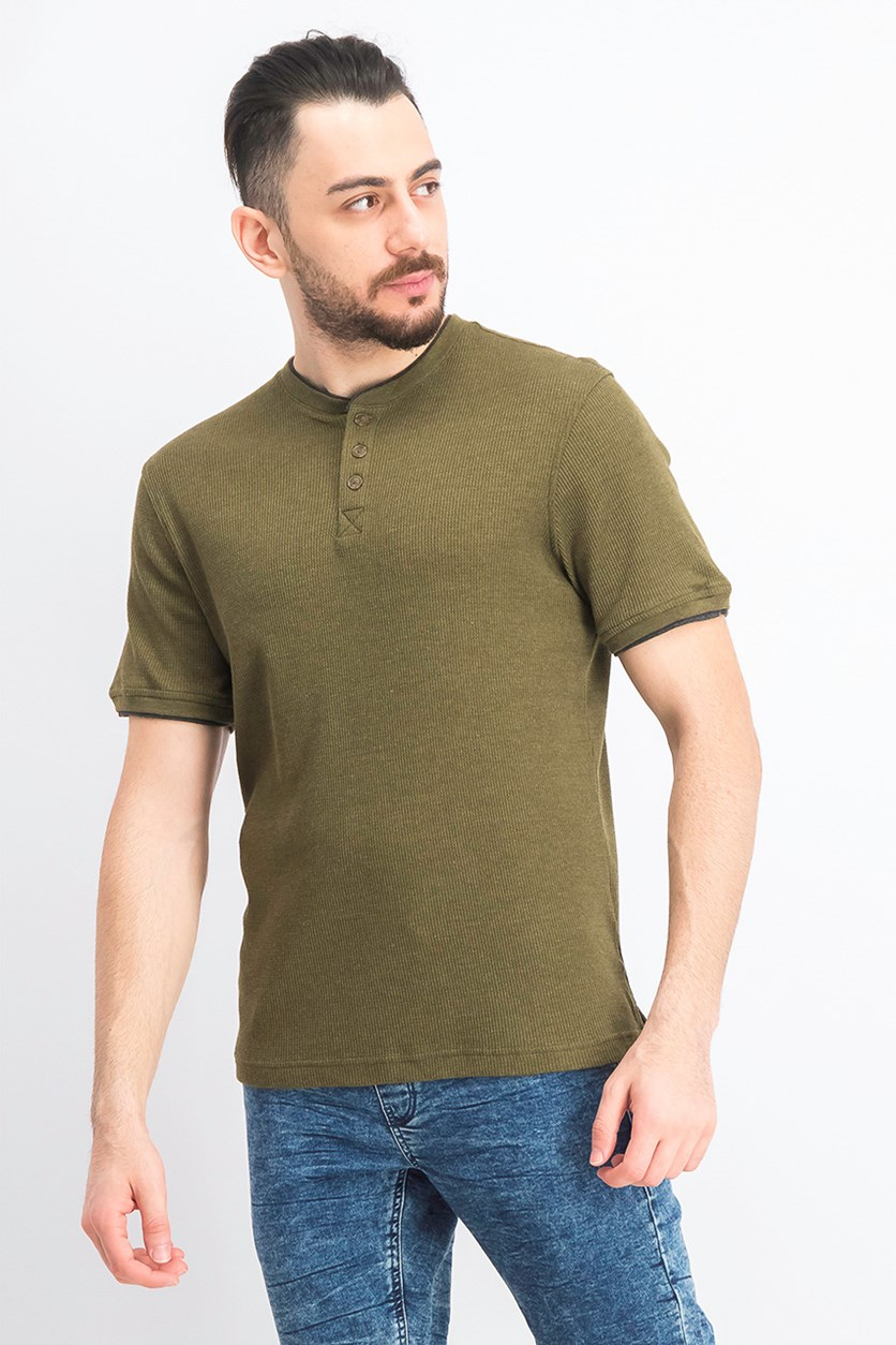 Men's Waffle-Knit Henley, New Olive