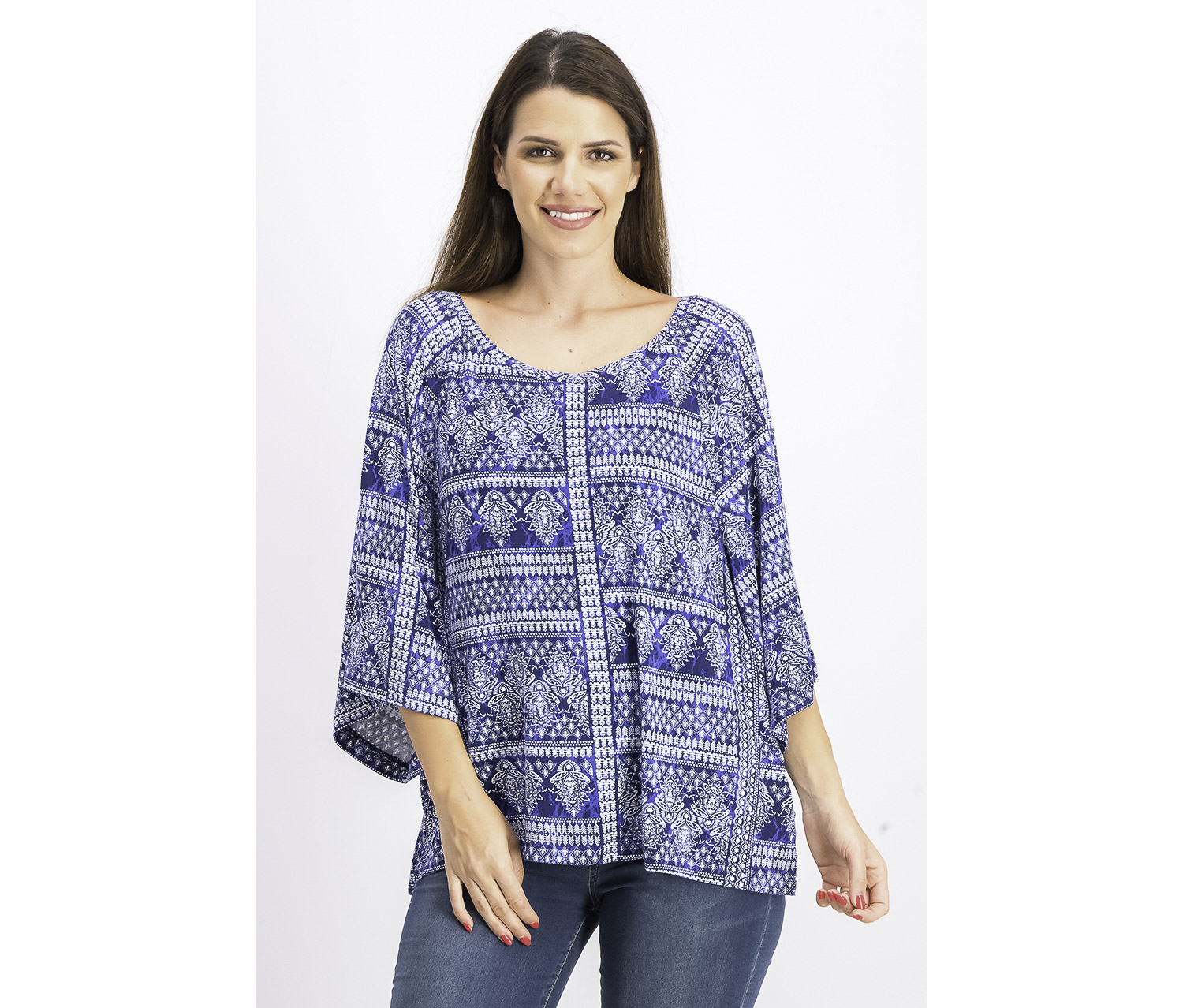 Women's Printed Split Hem Pullover Top, Blue