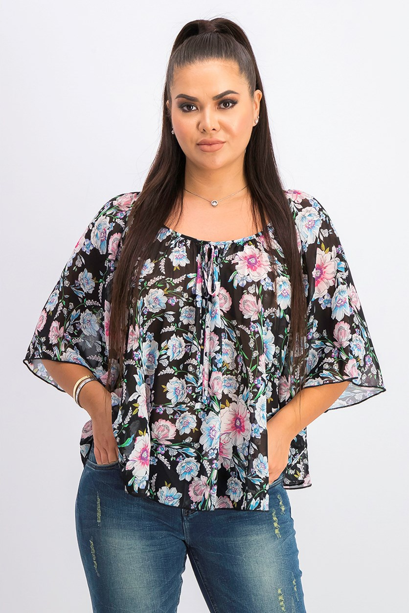 Women's Floral Sheer Pullover Top, Black Combo