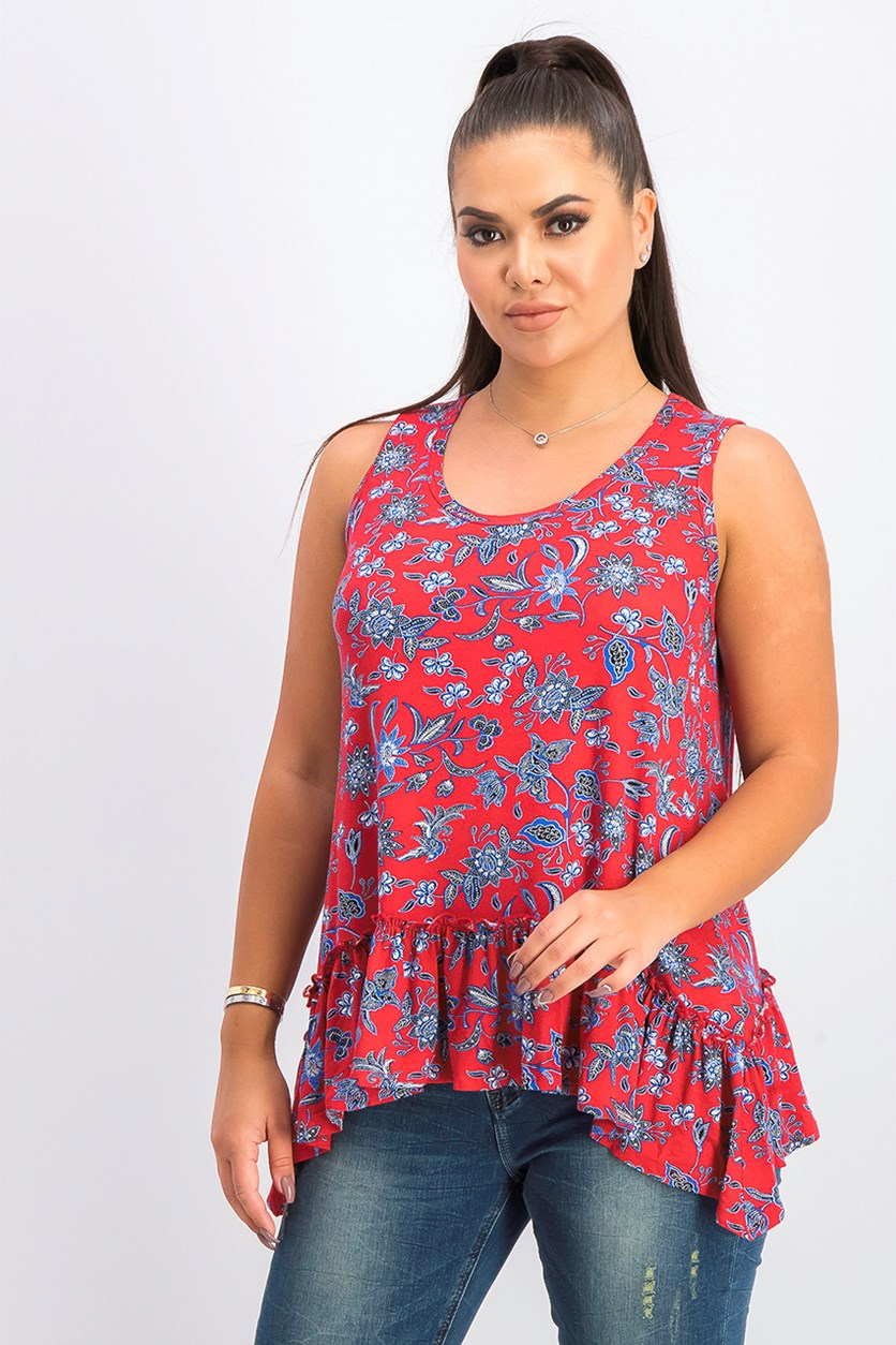 Women's Paisley Ruffle Hem Tank Top, Red
