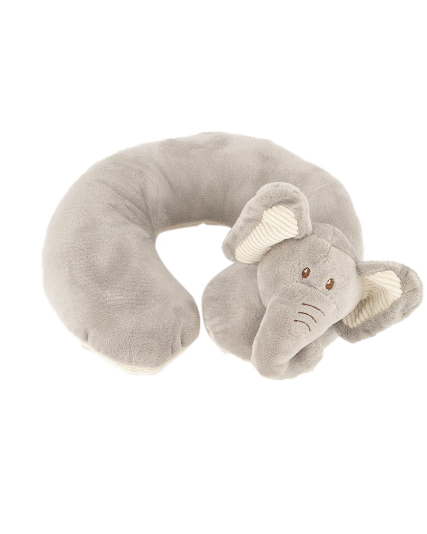 Plush Elephant Corduroy Trim Baby Neck Pillow, Grey