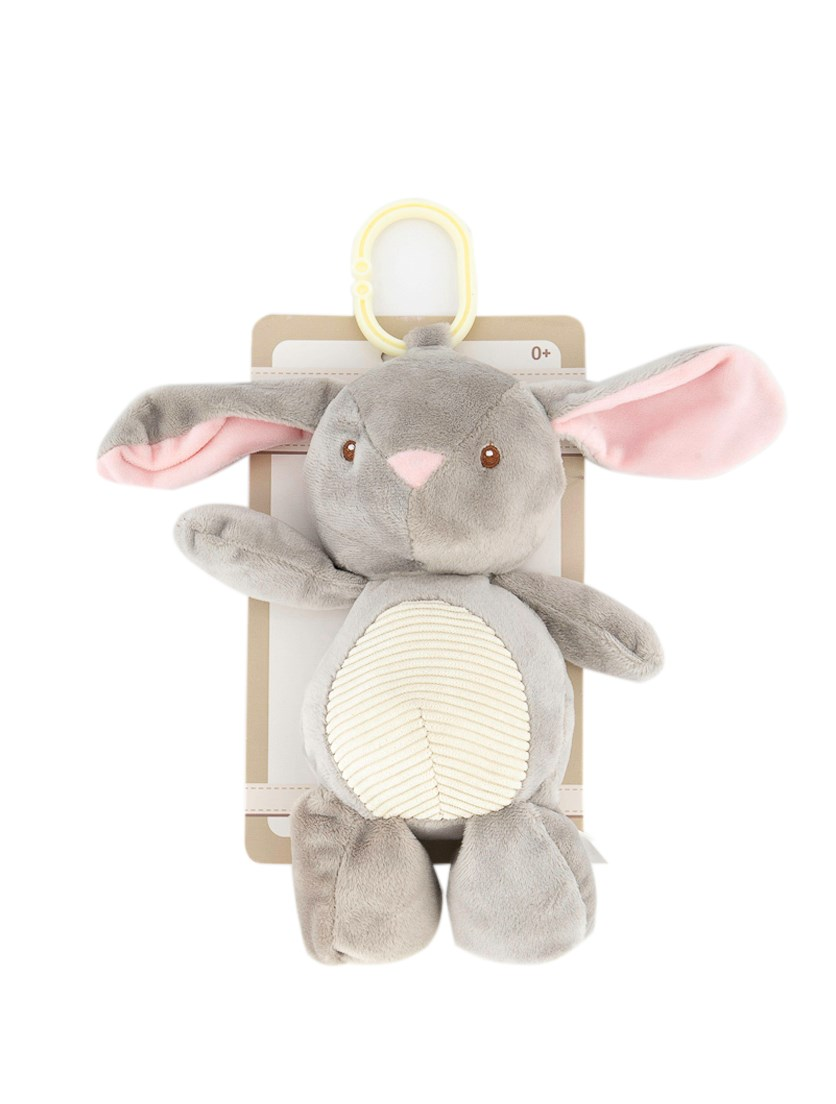 Plush Bunny Rabbit W/ Rattle Clip, Grey