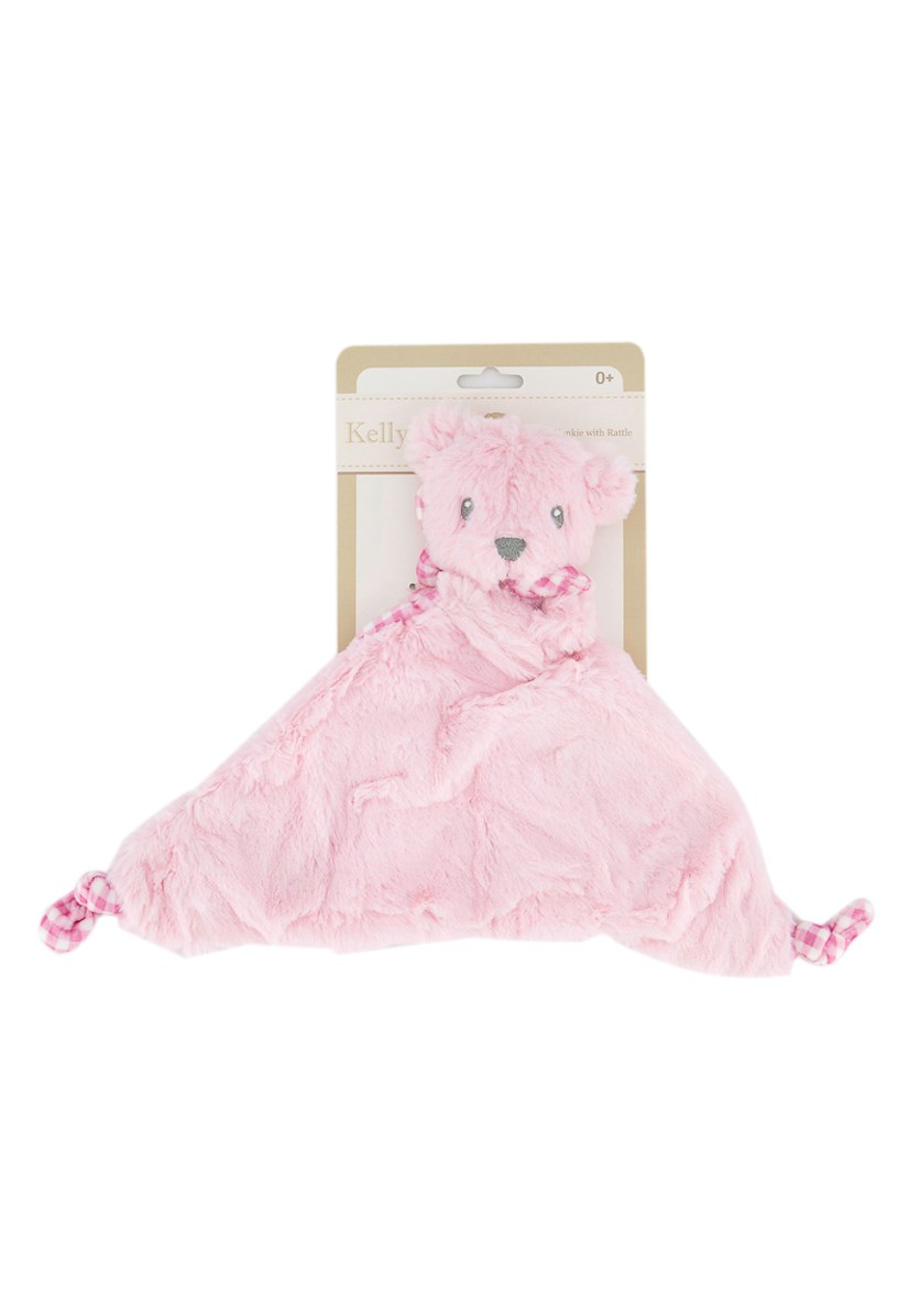 Bear Security Blankie Rattle On Backercard, Pink