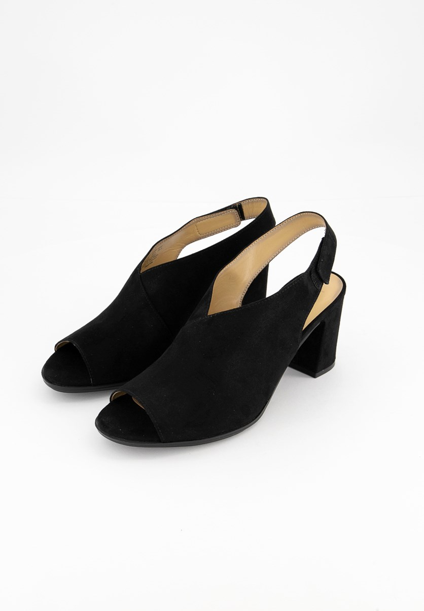 Women's Preston Suede Peep Toe Casual Slingback, Black
