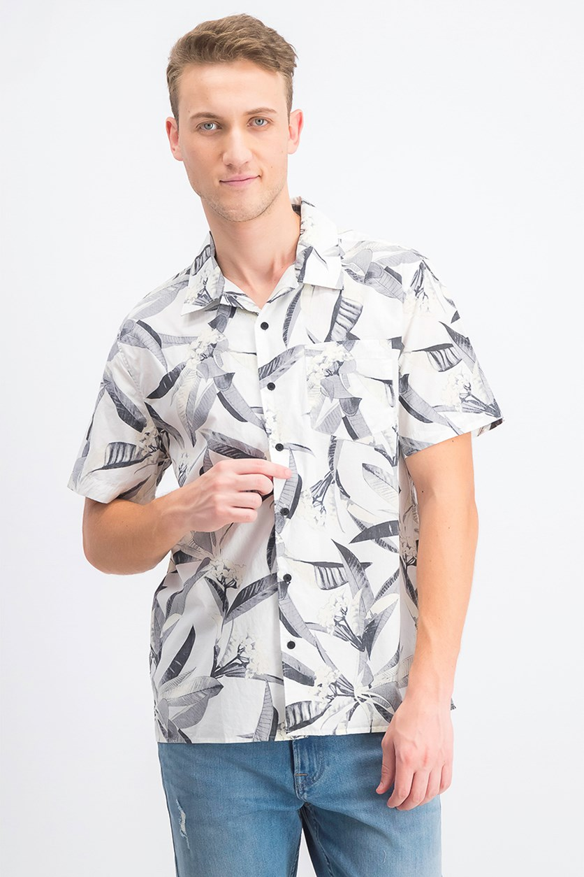 Men's Floral-Print Shirt, Grey/White