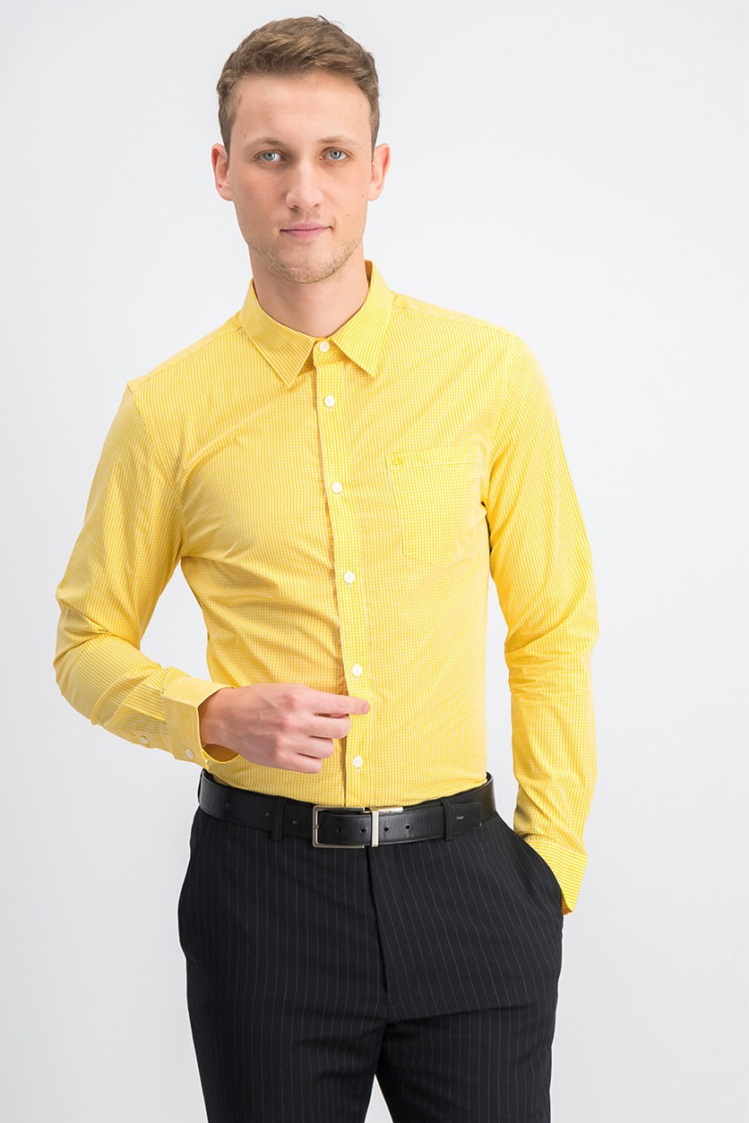 Men's Extra-Fine Cotton Shirt, Vibrant Yellow