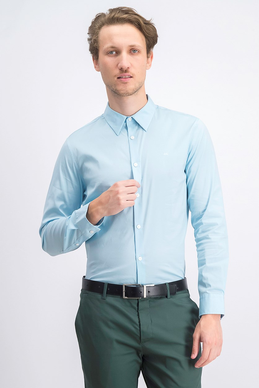Men's Slim-Fit Stretch Solid Shirt, Bright Ice