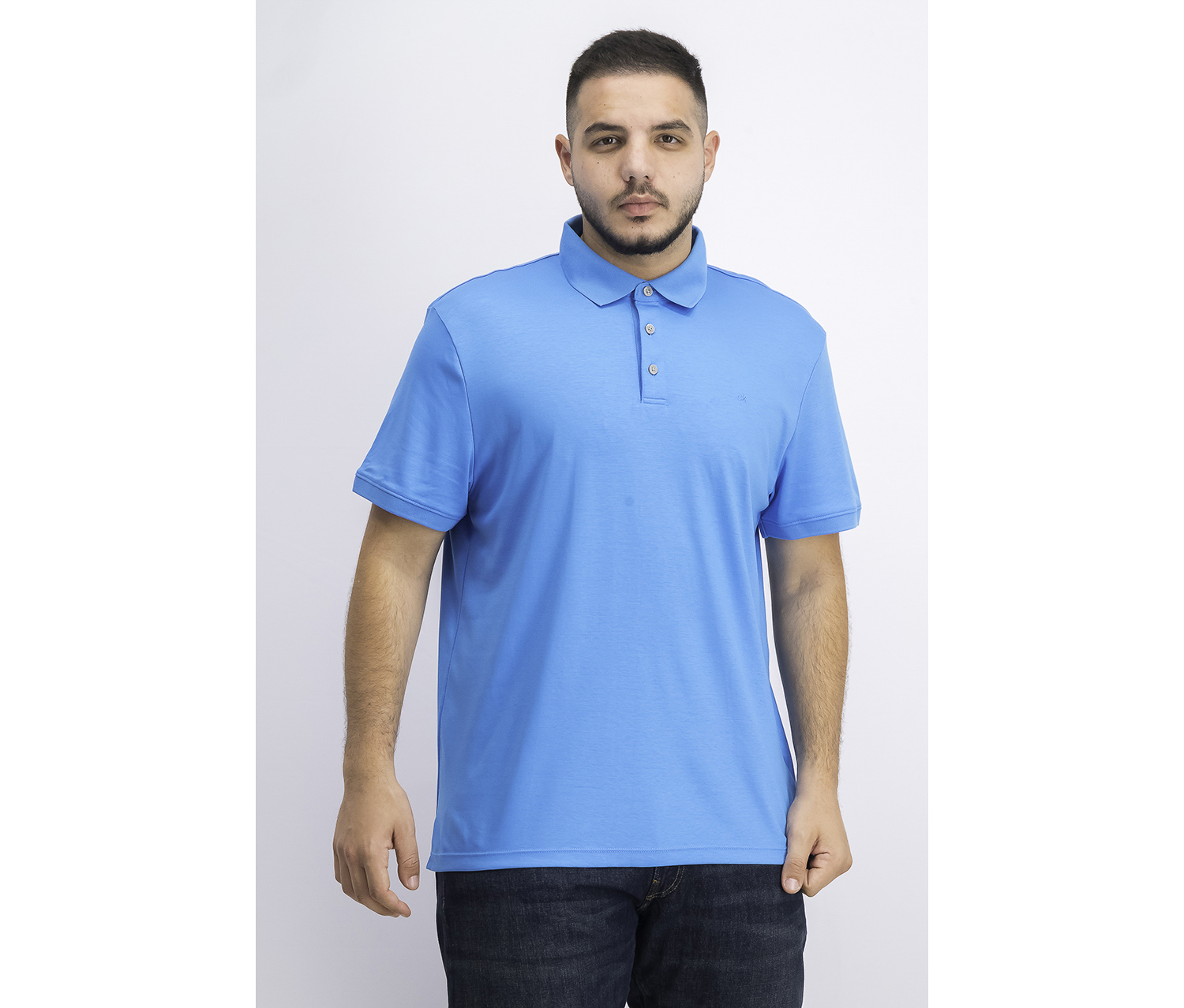 Men's Liquid Touch Cotton Polo Shirt, Malibu Blue