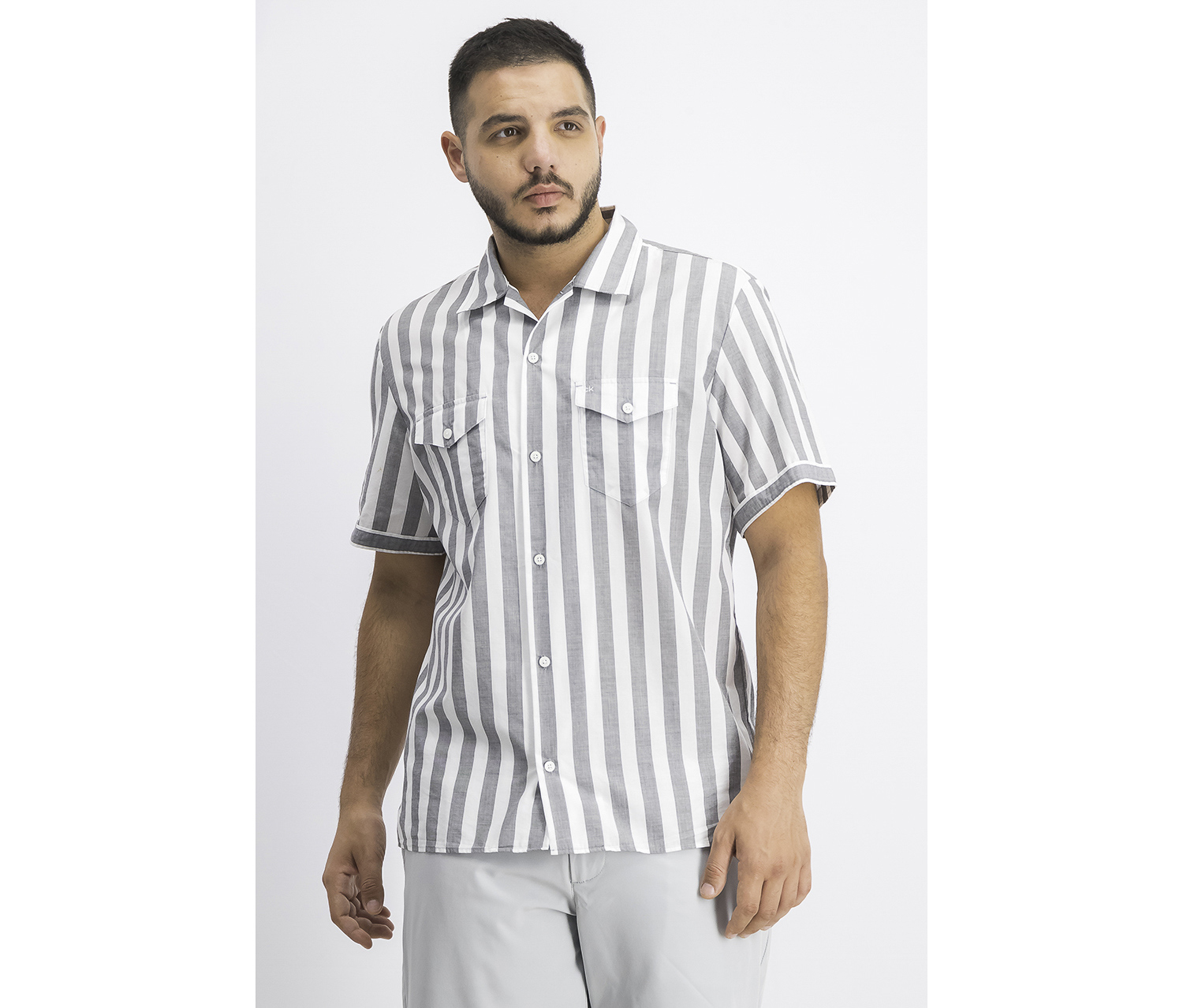 Men's Vertical Stripe Shirt, Grey/White