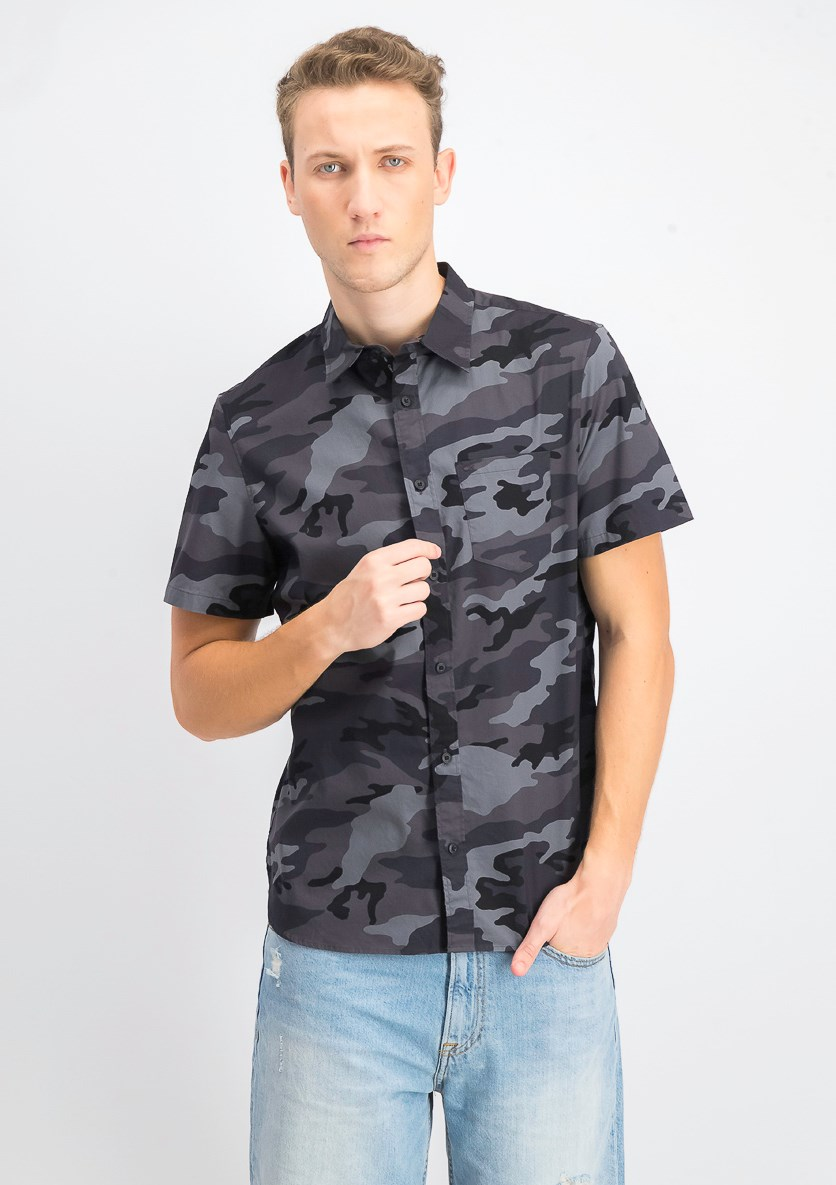 Mens Camouflage Slim-Fit Shirt, Black