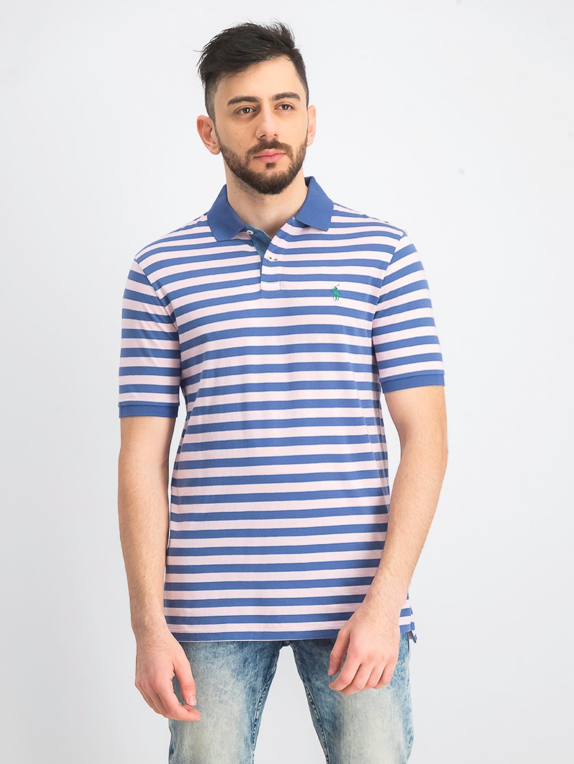 Men's Classic Fit Jersey Polo Striped Shirt, Blue/Pink