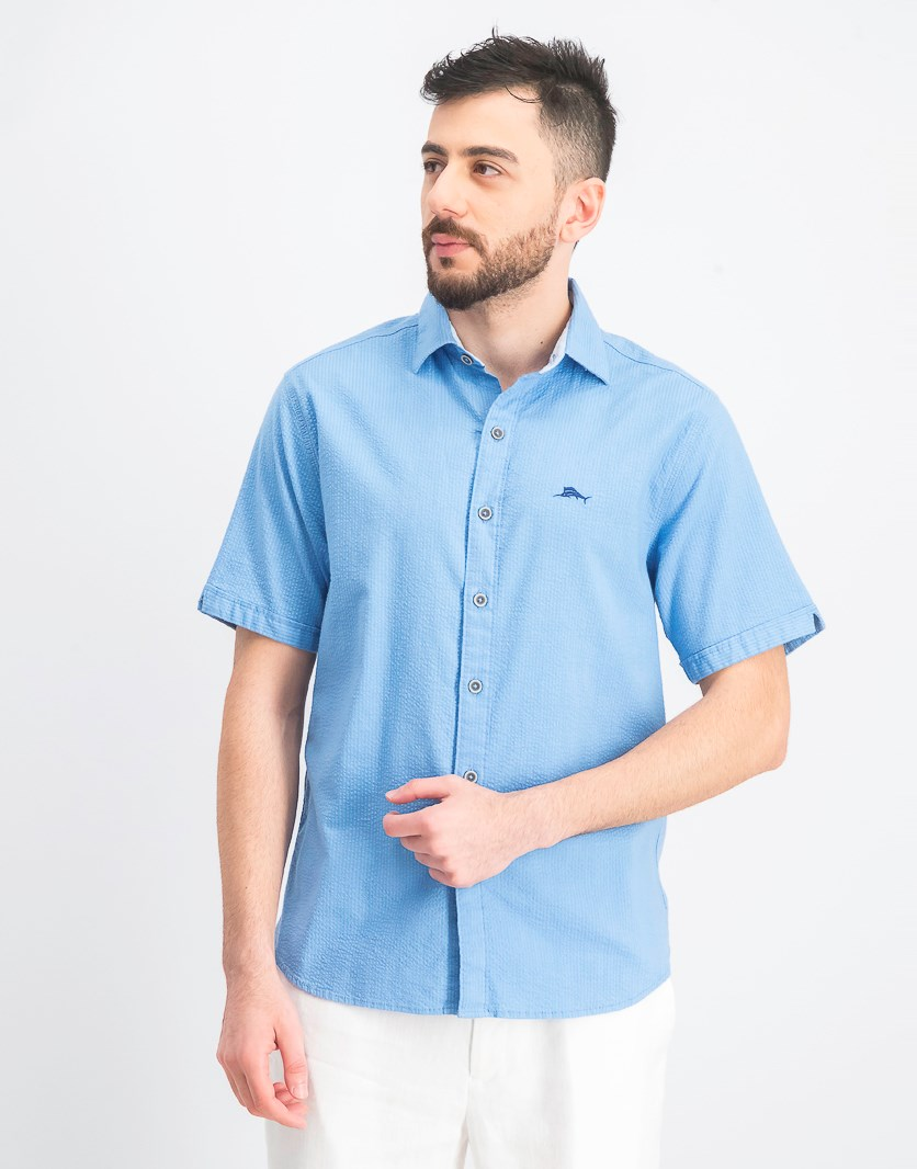 Men's Corvair Stretch Seersucker Camp Shirt, Blue Yonder