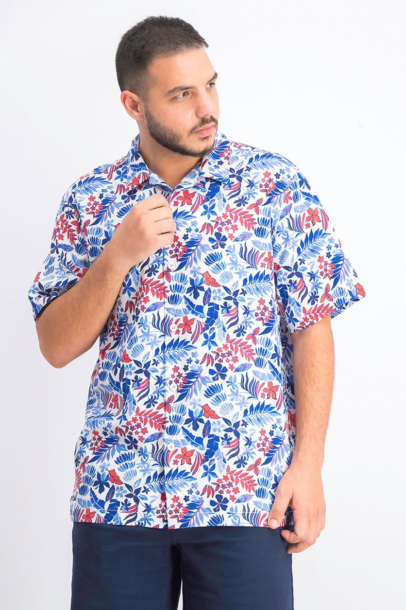 Mens Floral Hawaiian Camp Shirt, Blue Combo