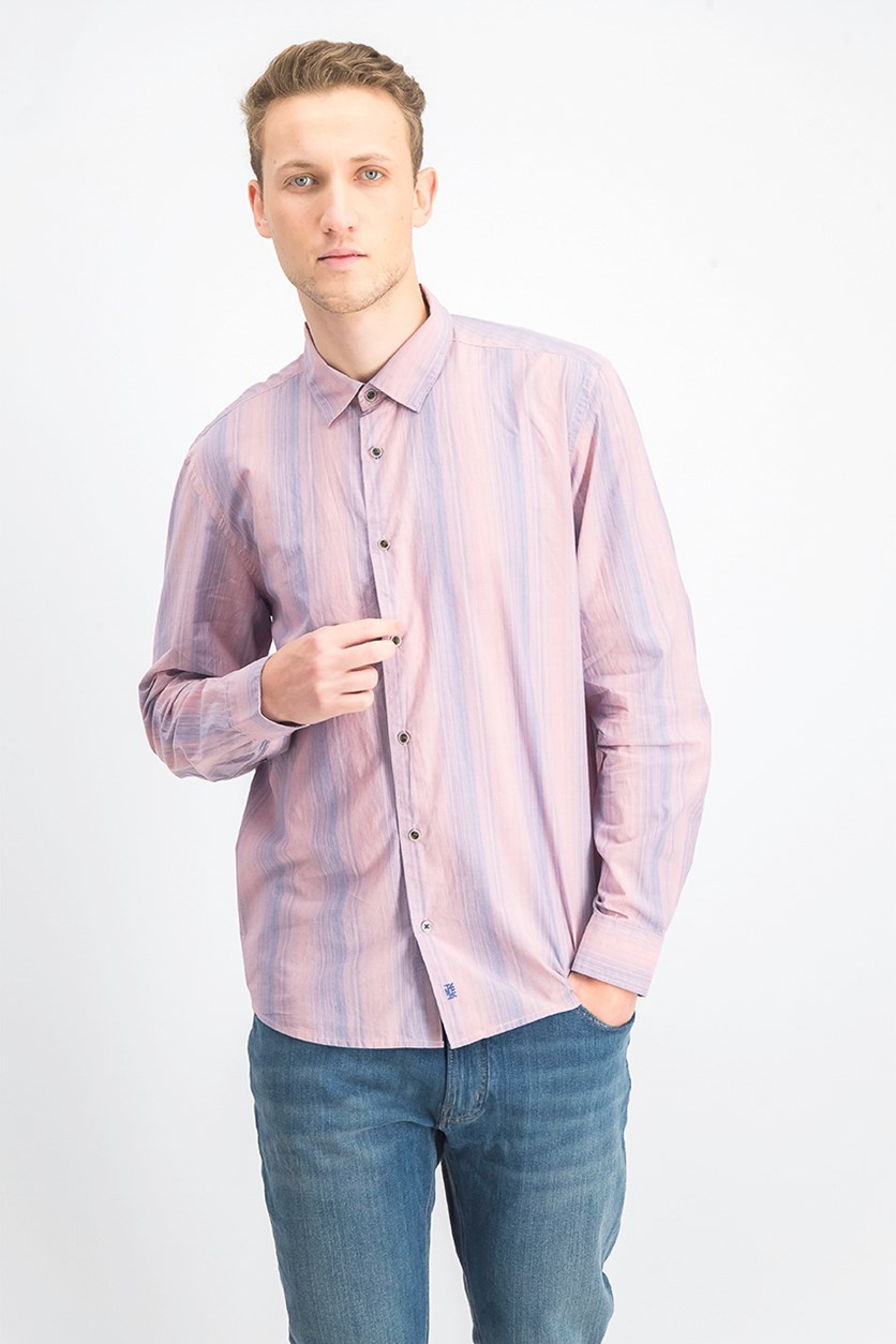 Men's Stripe Poplin, Orange Sand