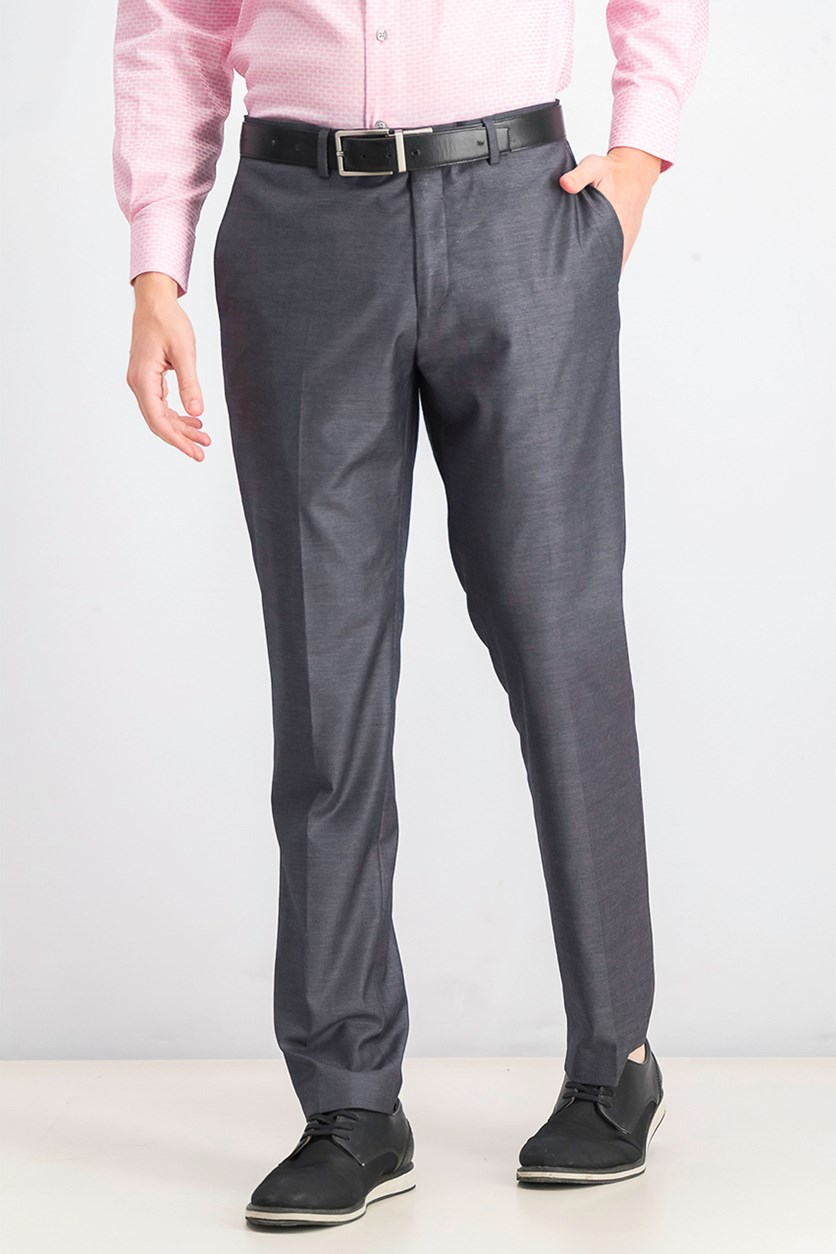 Men's Slim Fit Wrinkle Resistant Dress Pants,  Medium Grey