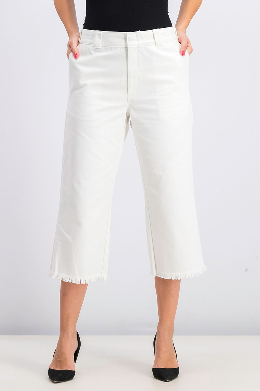 Women's Frayed Cropped Pants, White