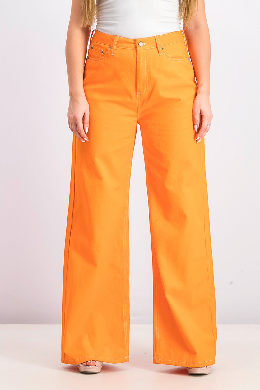Women's High-Waisted Wide-Leg Jeans, Solar Orange