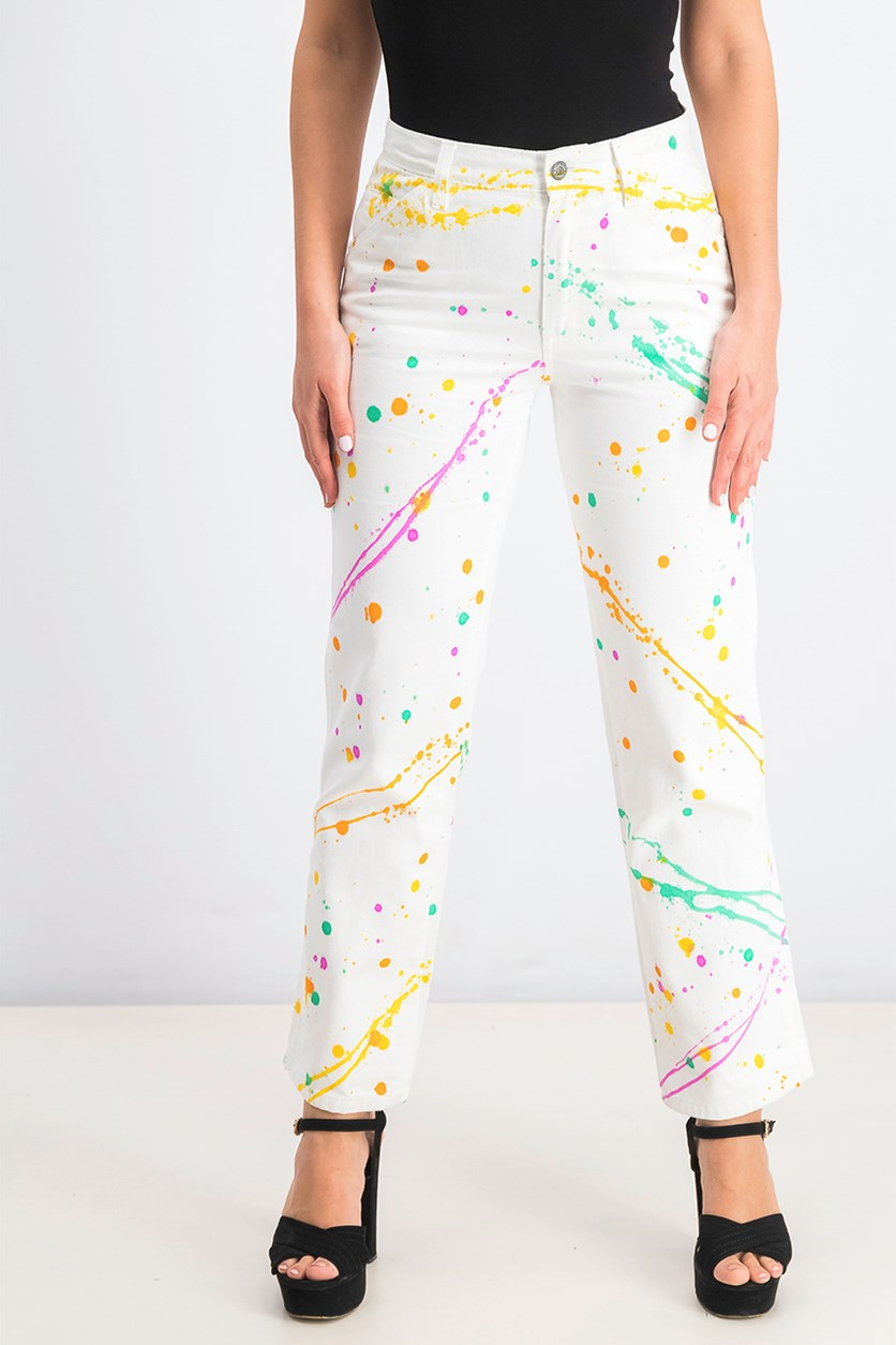 Women's Paint Splatter High-Rise Carpenter Pants, White Combo