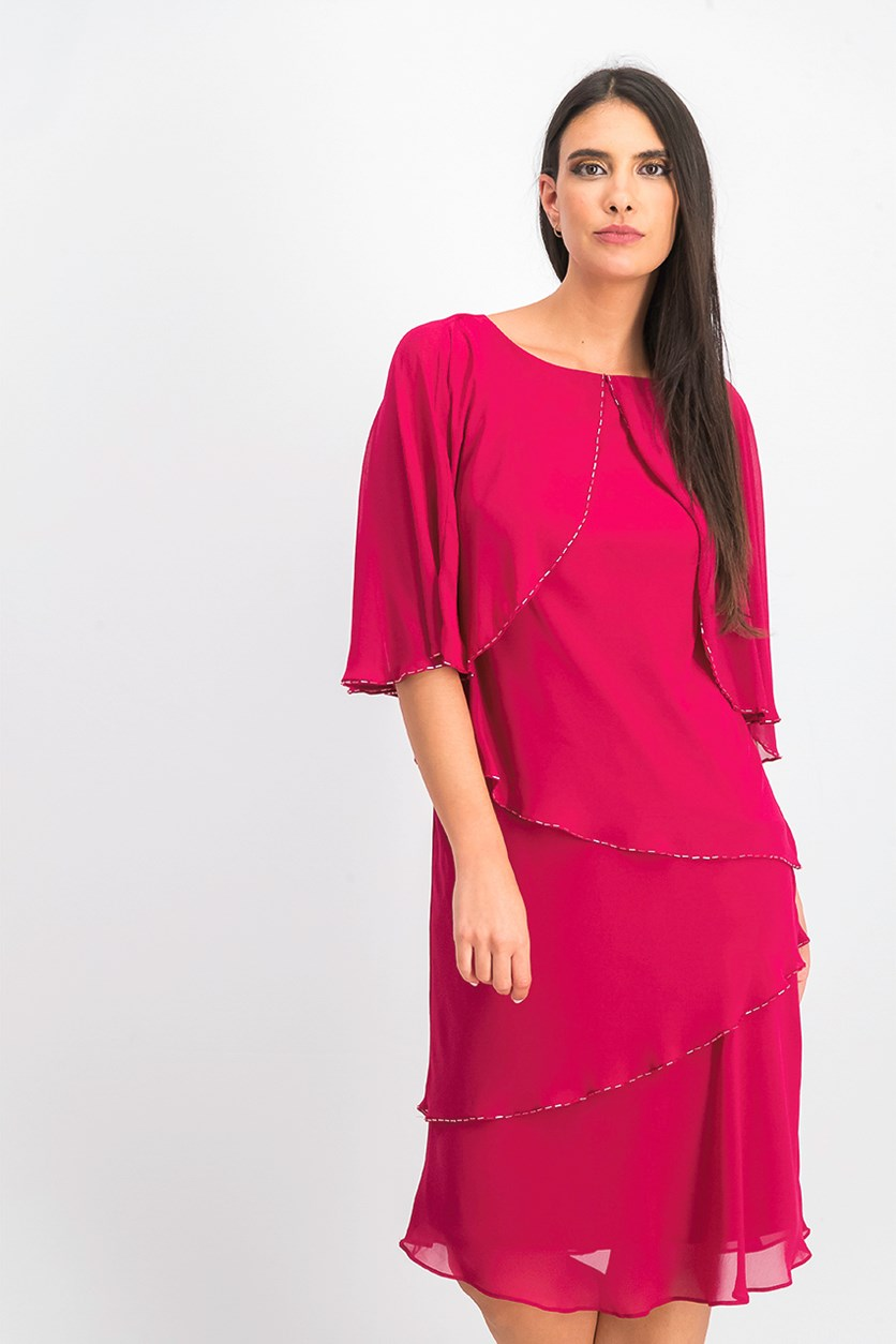 Women's Tiered Capelet Dress, Raspberry