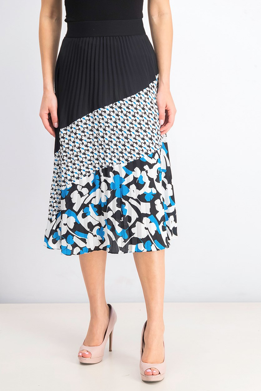 Women's Pleated Printed Colorblocked Skirt, Black Combo