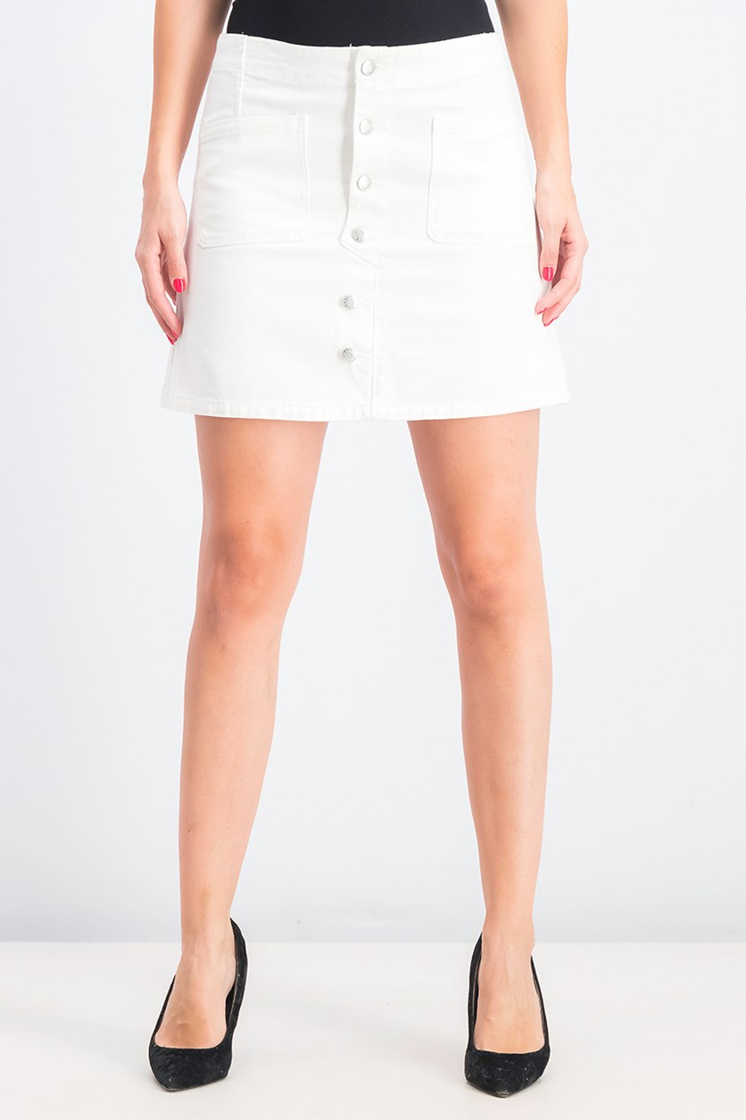 Womens Button Fly Skirt, Off White