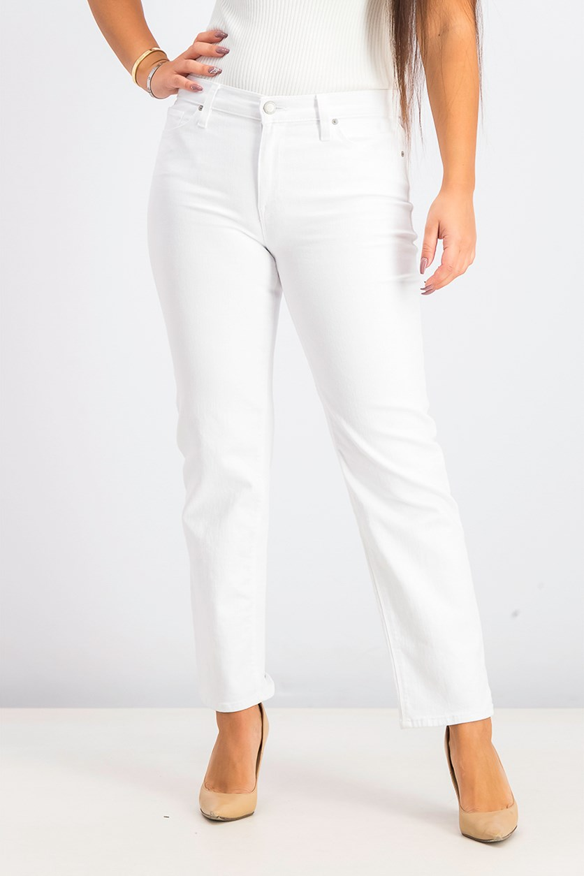 Women's Straight Leg Stretchable Jeans, White
