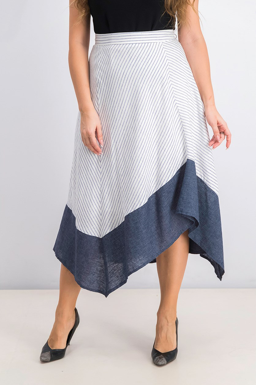Women's Striped Asymmetrical-Hem Skirt, White/Navy