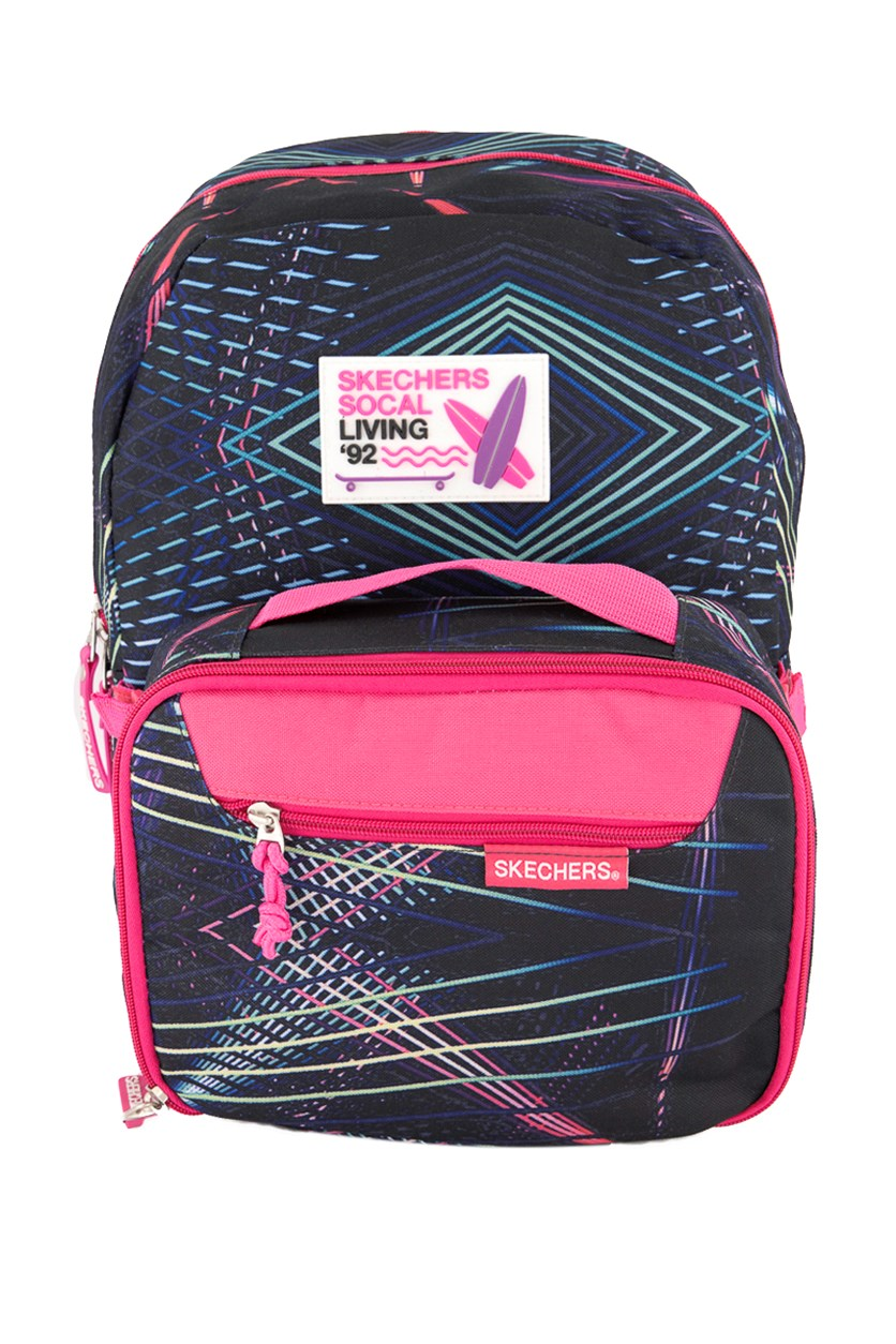 Girl's Laser Show Backpack with Lunchbox, Black/Fuchsia Pink
