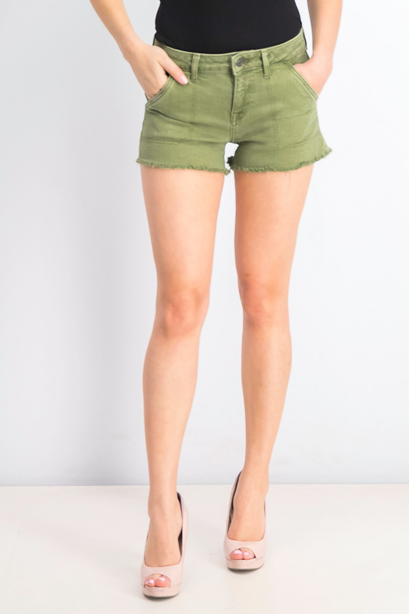 Women's Cary Frayed Utility Shorts, Loden Green