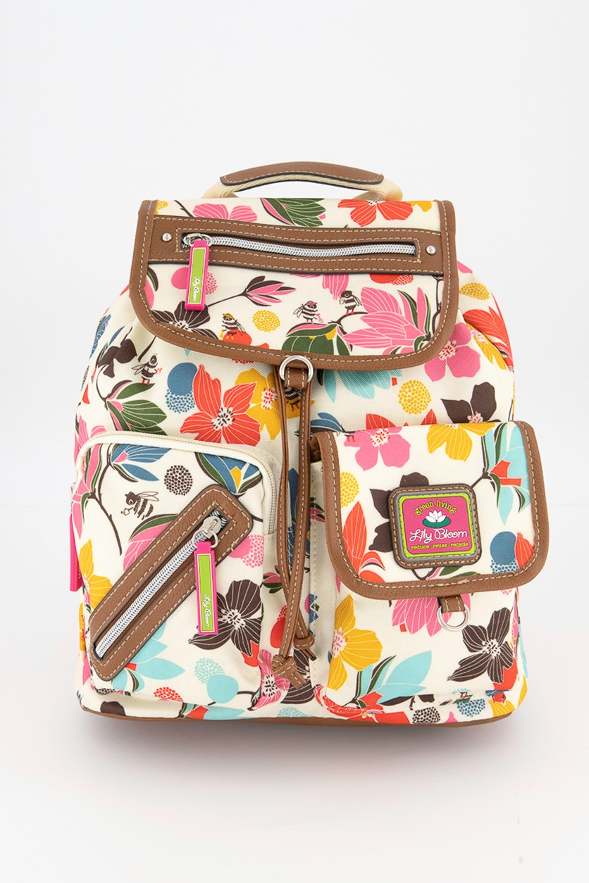 Women's Riley Backpack Blooming Bees, Ivory/Pink Combo