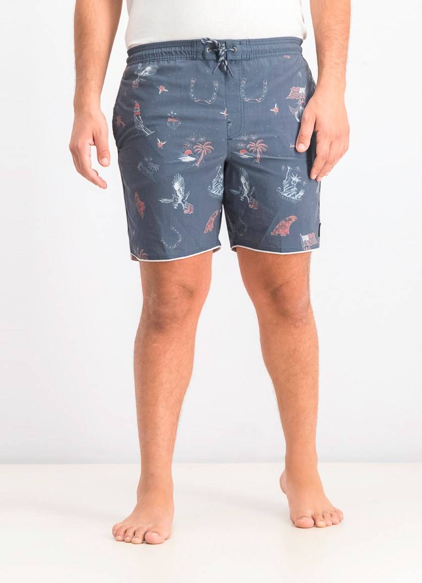 Mens Patches Volley Cruzer Boardshorts, Navy