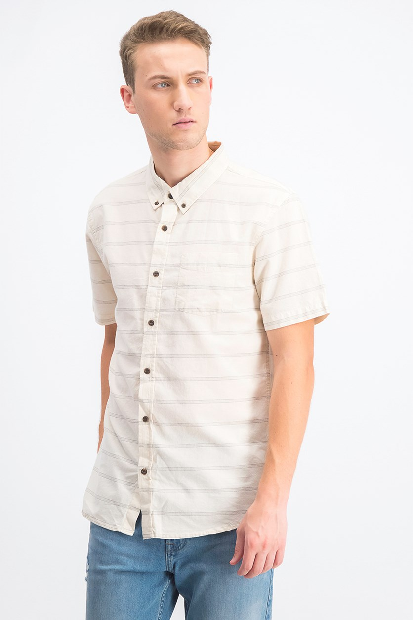 Men's Oxford Yarn Dyed Tampico Striped Shirt, Ivory