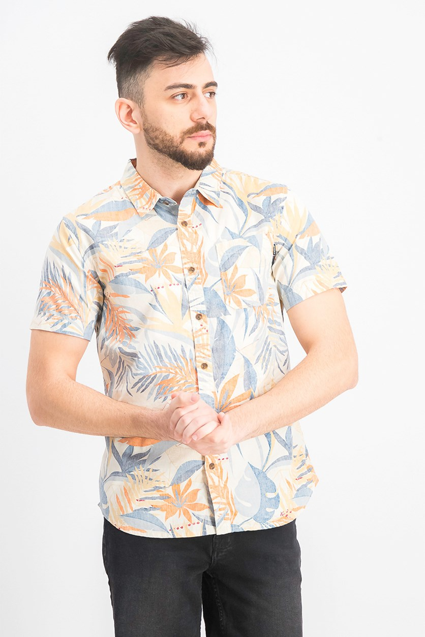 Men's Modern-Fit Tropical-Print Shirt, Blue/Orange Combo
