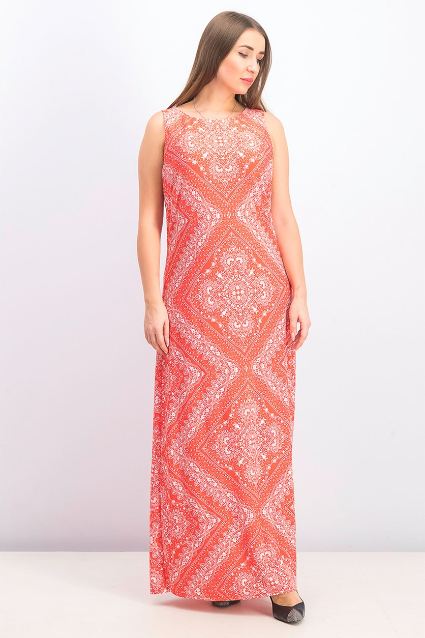 Women's Bandana-Print Maxi Dress, Red