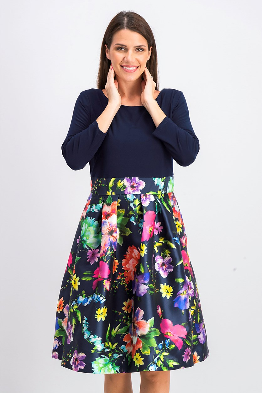 Women's Solid & Printed Fit & Flare Dress, Navy Combo