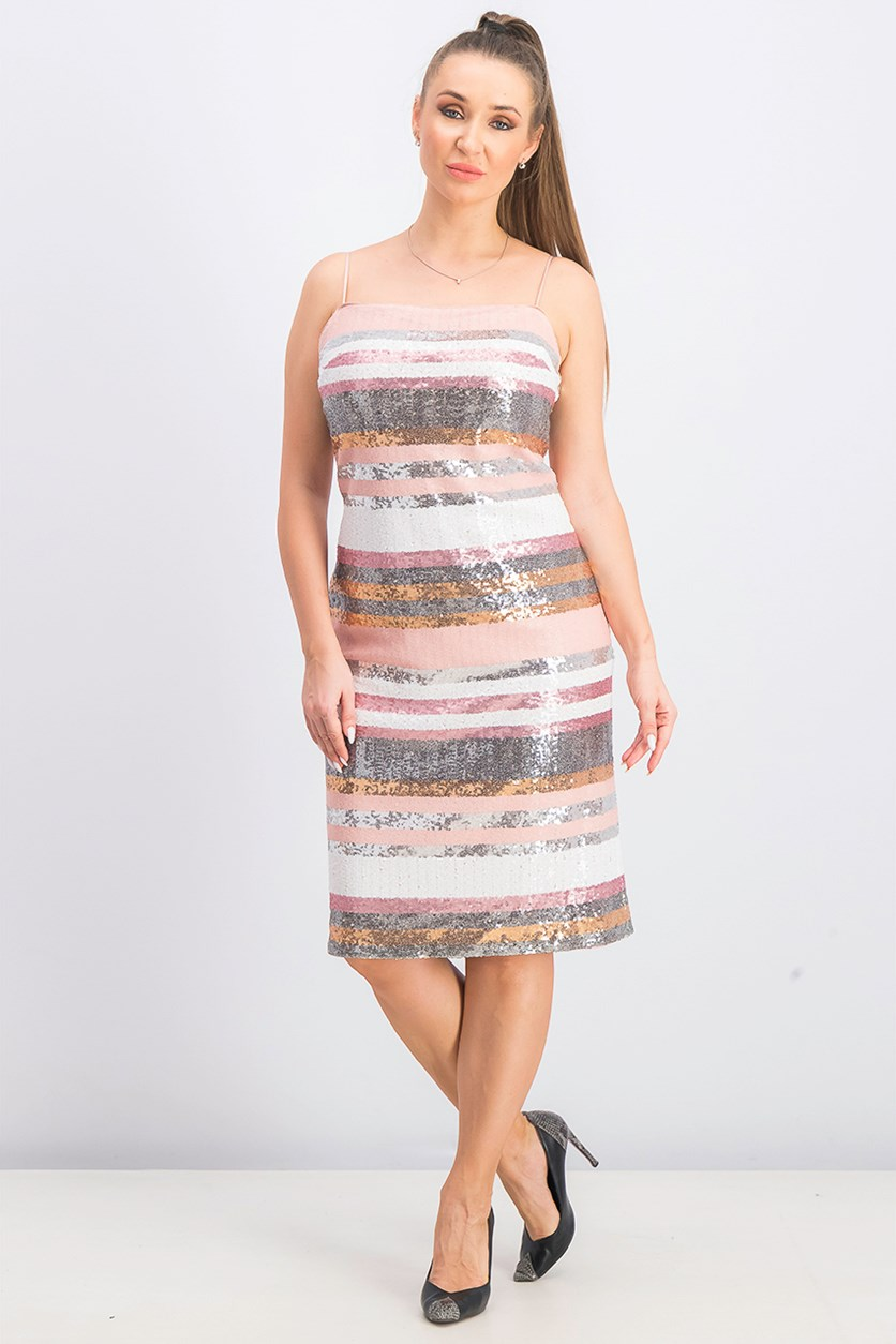 Women's Sequins Midi Shift Dress, Blush