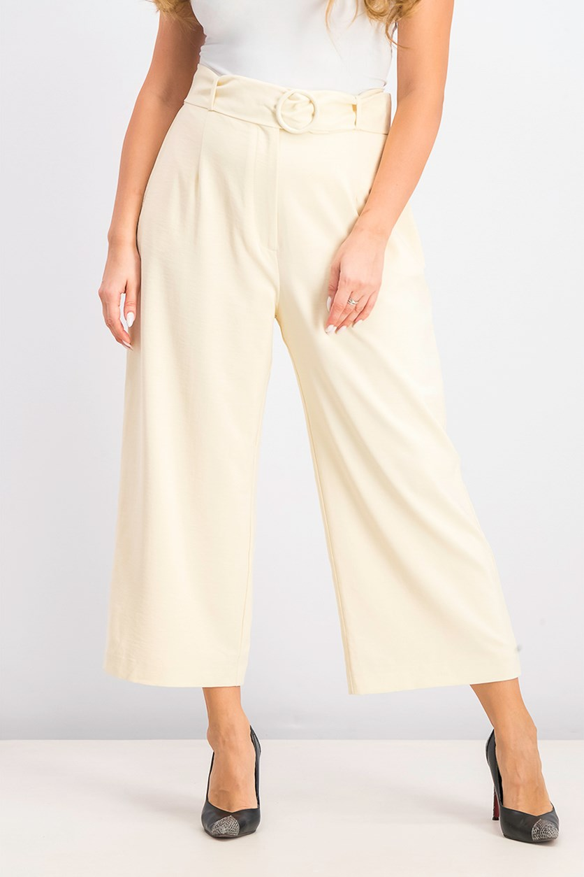 Womens Cropped Paper-Bag Pants, Beige