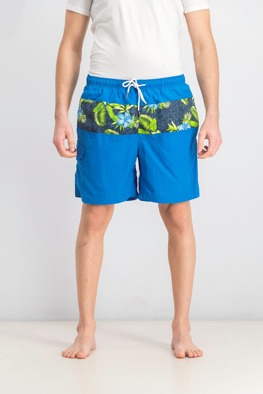Men's Spiced Floral Block Print Short, Blue