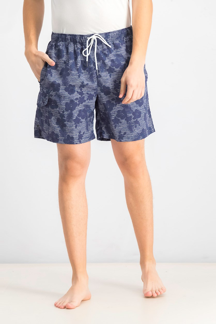Men's Tossed Floral Print Swim Trunks, Navy