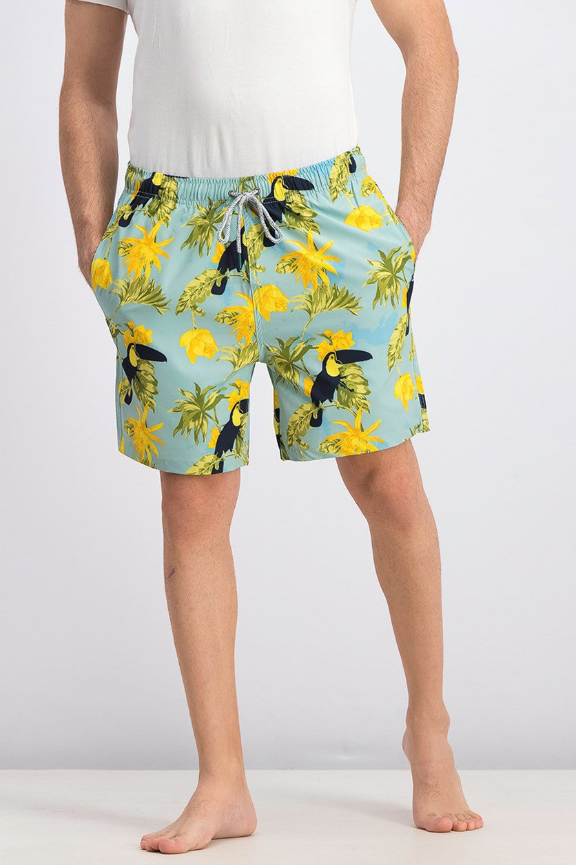 Men's Tiki Toucan Swim Trunks, Blue/Yellow Combo