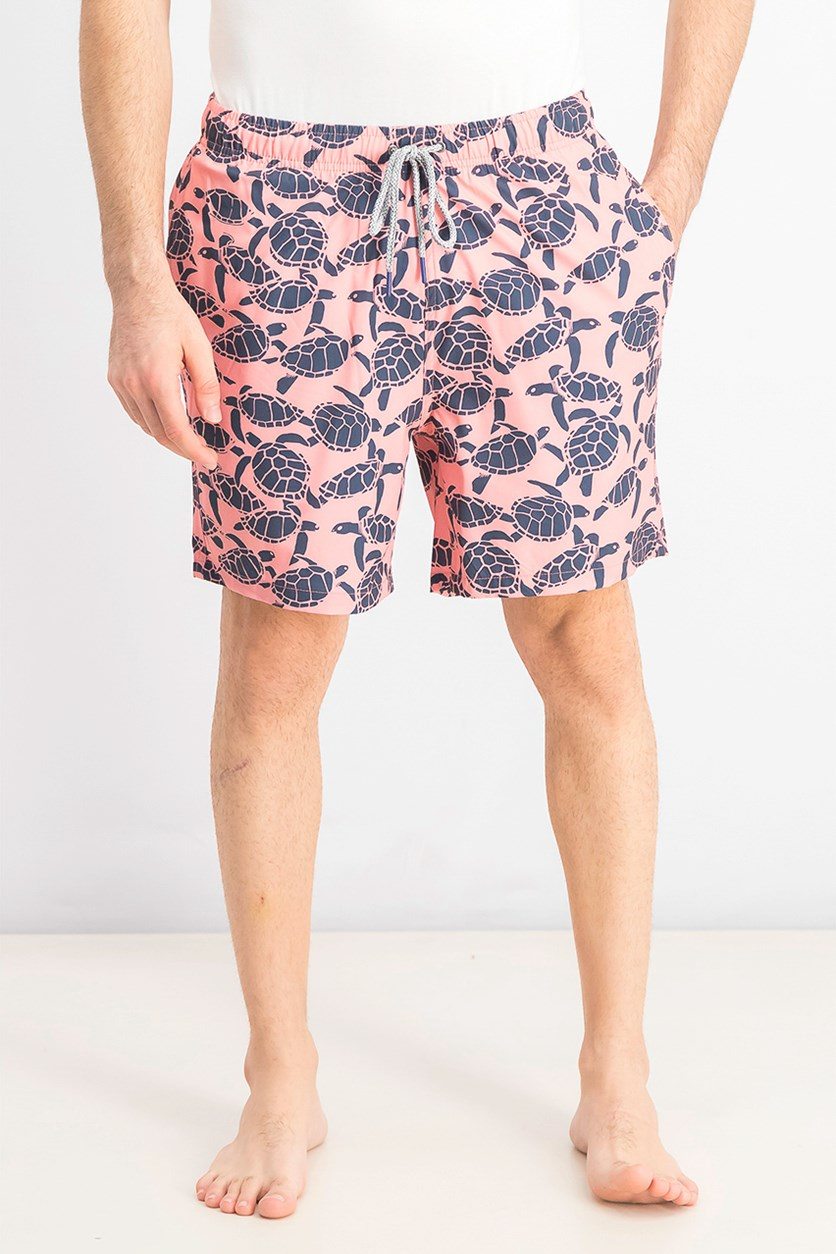 Men's Turtles Gone Wild Swim Trunks, Flamingo Pink