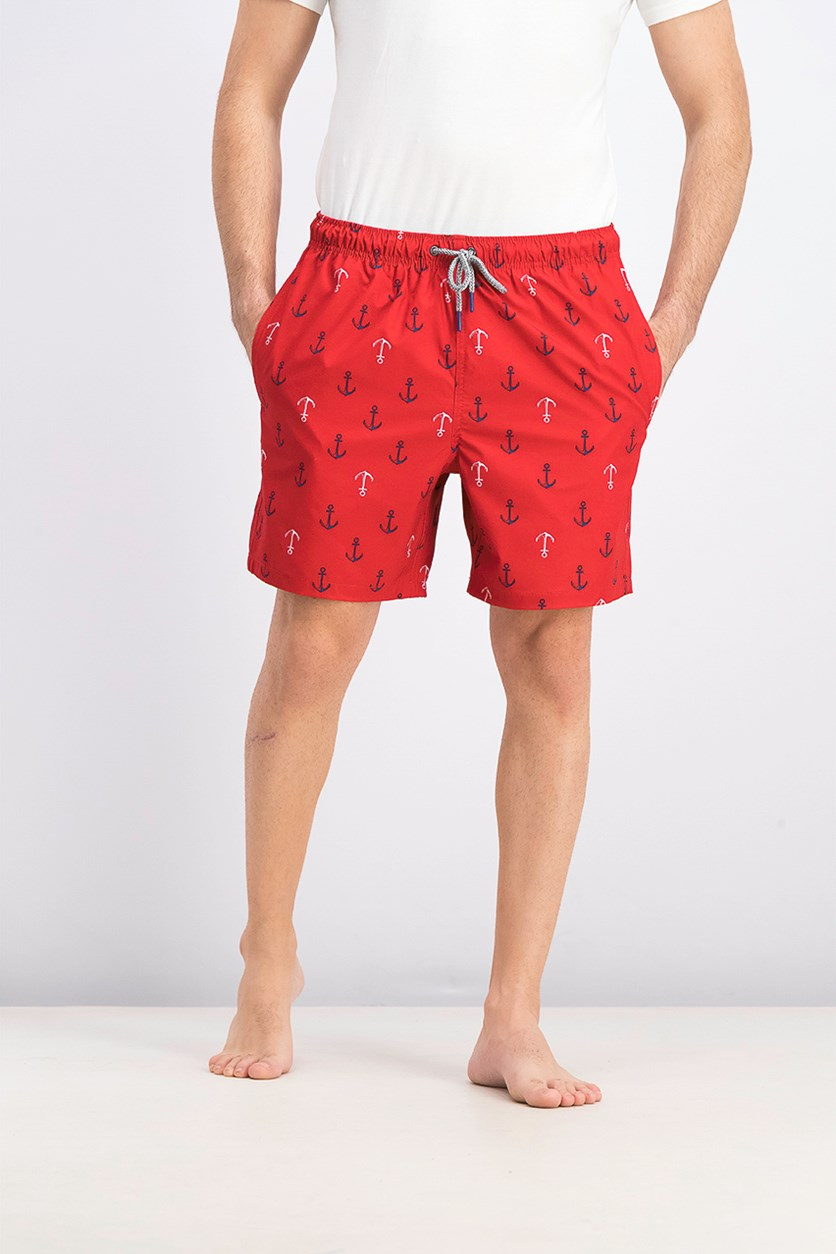 Men's Ship Ahoy Swim Trunks, Ribbon Red