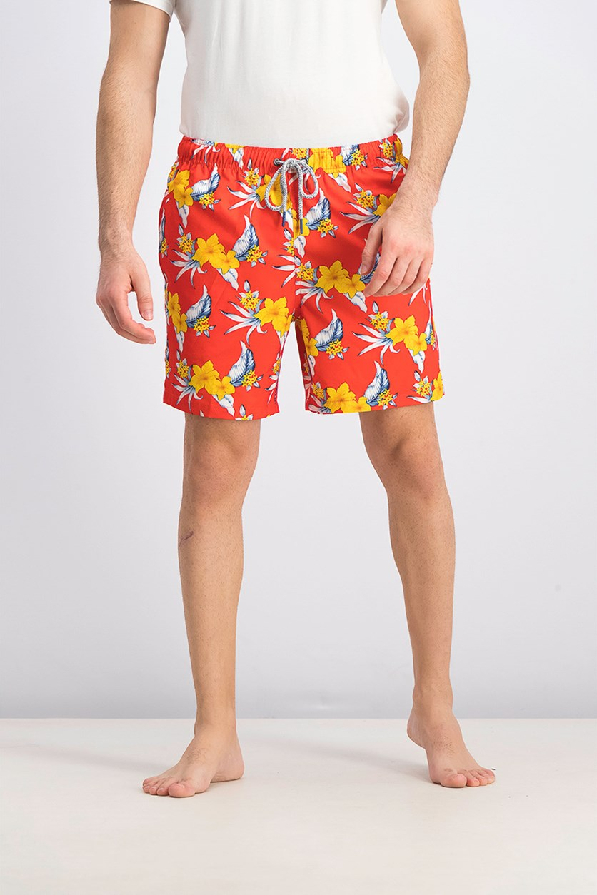 Men's Tropical Orchid Swim Trunks, Spicy Orange