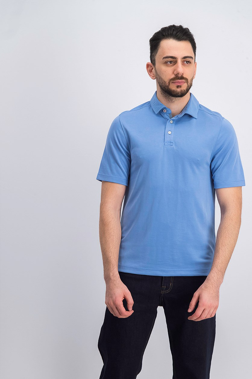 Men's Short Sleeve Solid Polo, Blue
