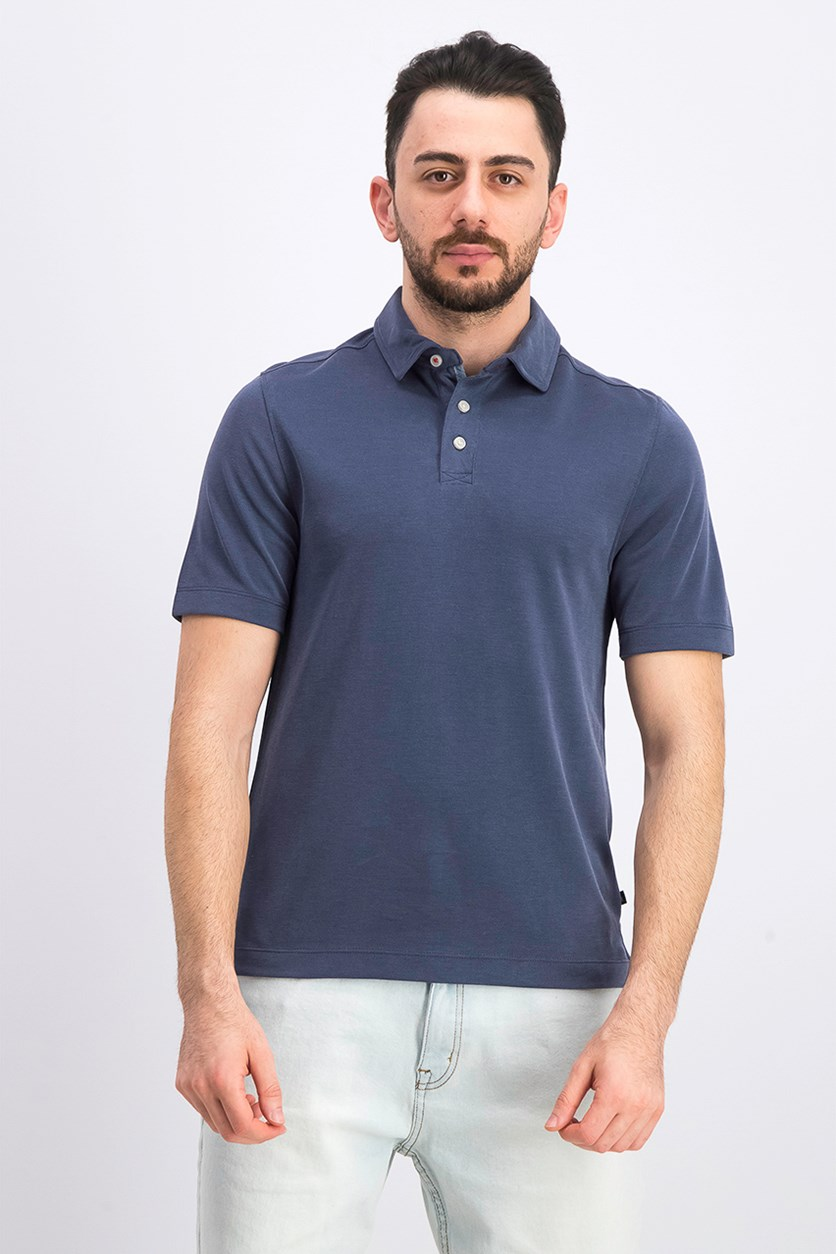 Men's Short Sleeve Solid Polo, Navy