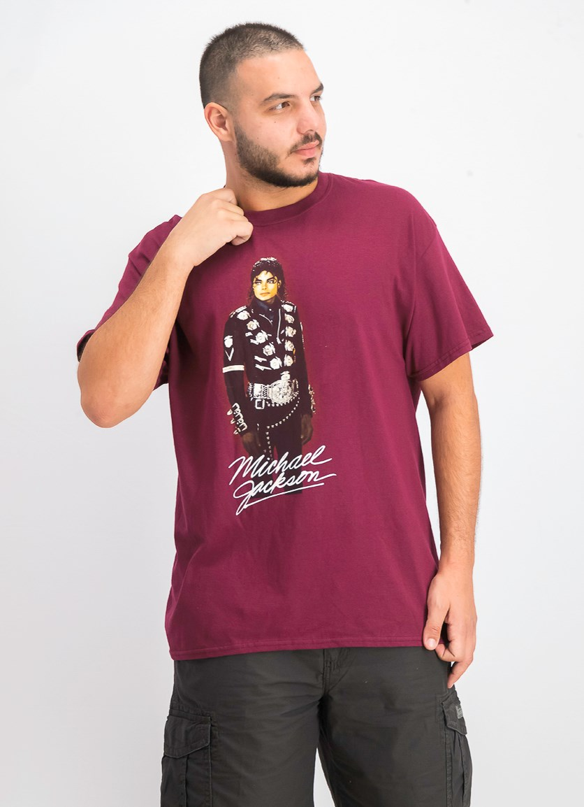 Men's Graphic Print Short Sleeve T-Shirt, Maroon Combo