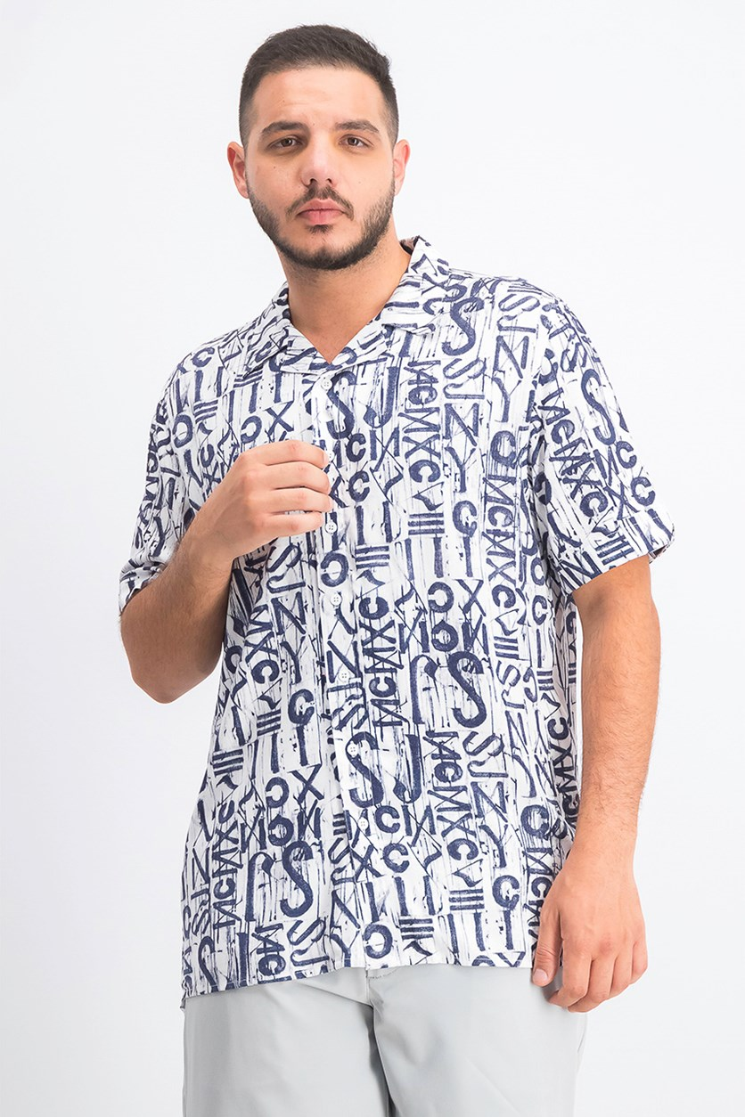 Men's Printed Woven Logo Graphic Short Sleeve, Off White