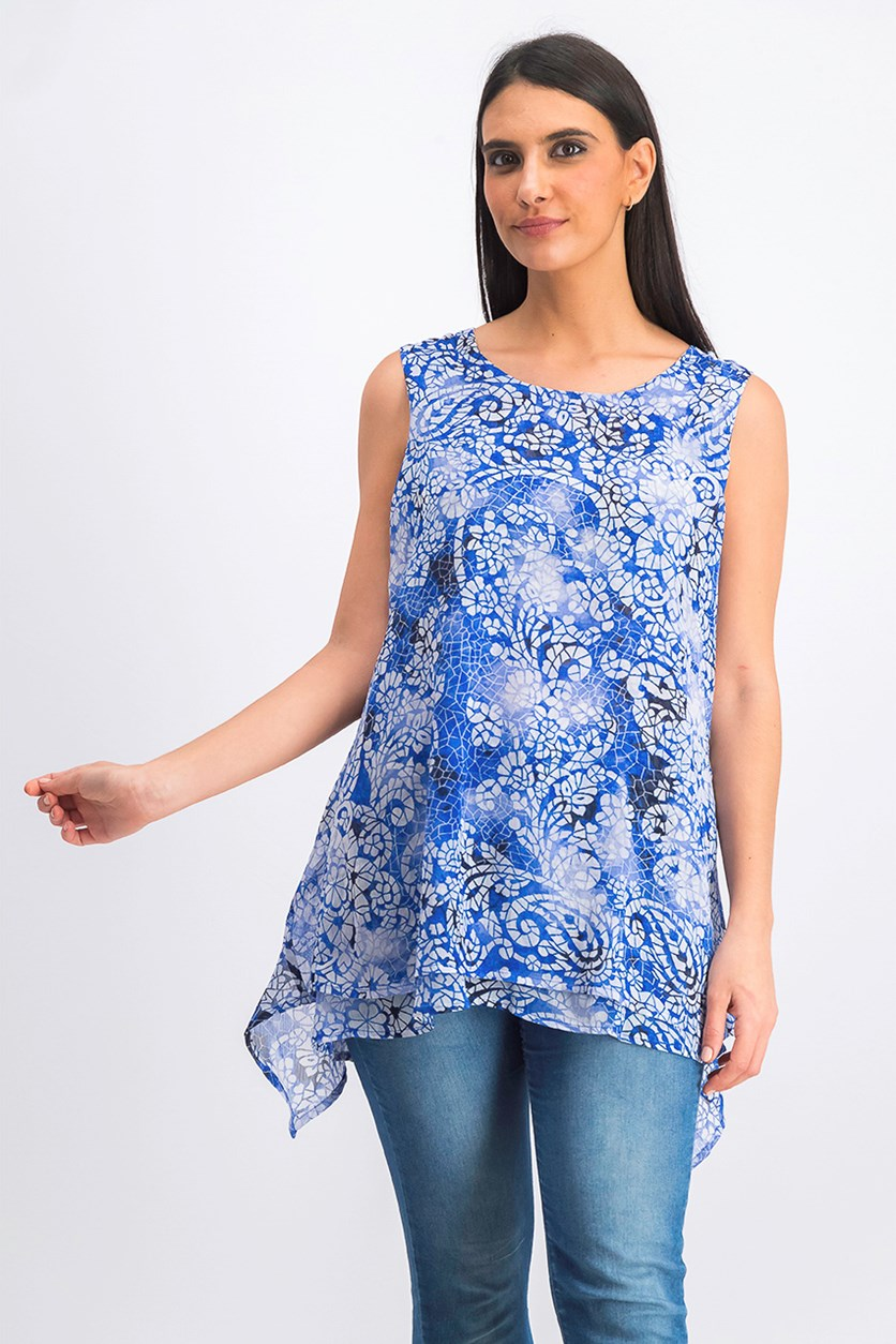 Women's Double Layer Sleeveless Blouse, Blue Mosaic